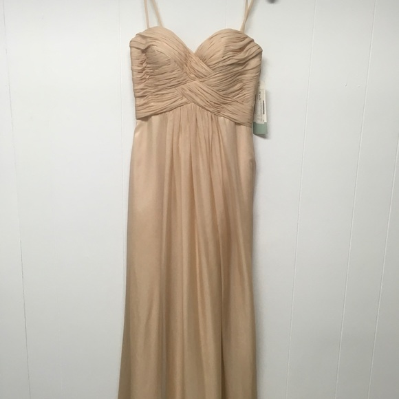 Dave & Johnny Dresses & Skirts - Formal Gown. Nude Chiffon Strapless Prom Sz 1/2